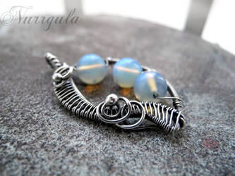 Opalite silver wire wrapped leaf necklace by nurrgula