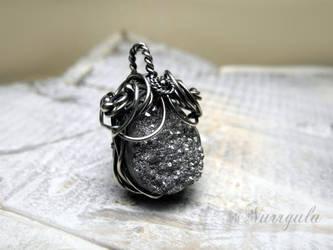 Raw Quartz Druzy Silver necklace, wire wrapped by nurrgula