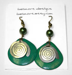Turquoise and Green Earrings w/ Hand Hammered...