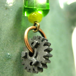 Green Beads and Cog Earrings3