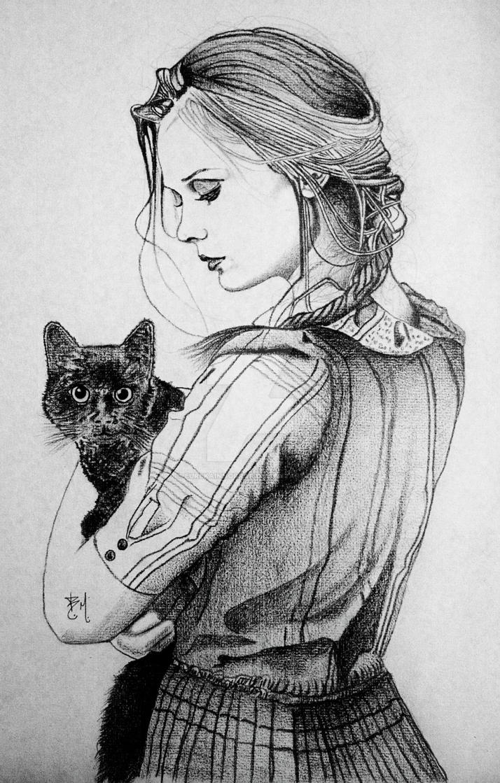 Girl With Black Cat By Eurekainhorror On Deviantart