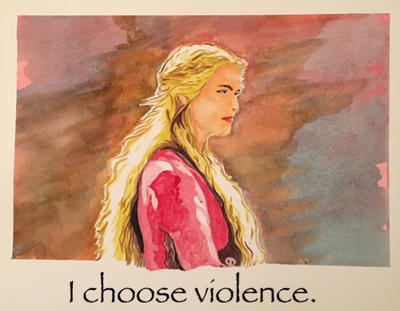 Cersei Lanister Game of Thrones Watercolor by dwarfguy