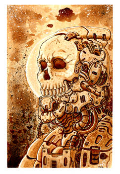 Cyberpunk skull (painted with coffee)