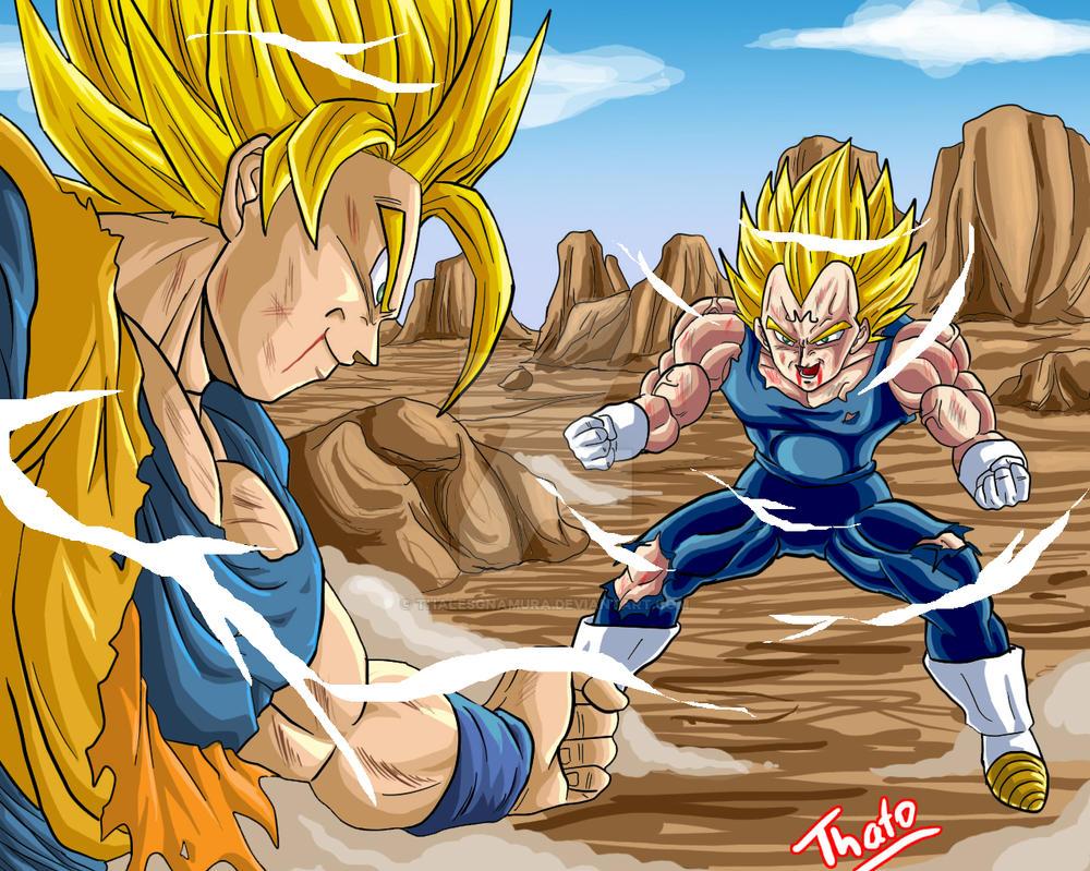Goku vs Majin Vegeta by thalesgnamura on DeviantArt
