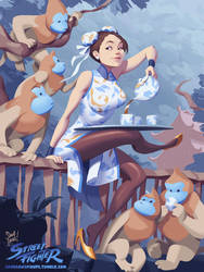 Chun-Li, Tea, and Mon-keys by SamYangArt