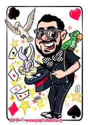 Caricature of a magician artist