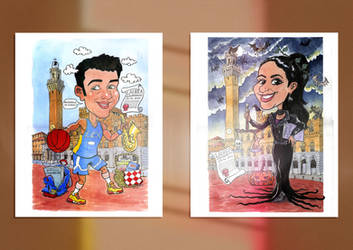 watercolour caricature for degree