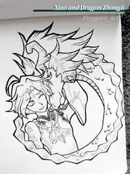Xiao and Dragon Zhongli
