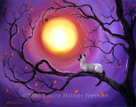 Siamese Cat In Purple Moonligh By Zenbreeze