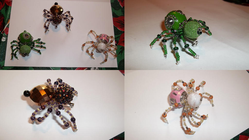 Beaded Spider Pins by Literate-Adopts