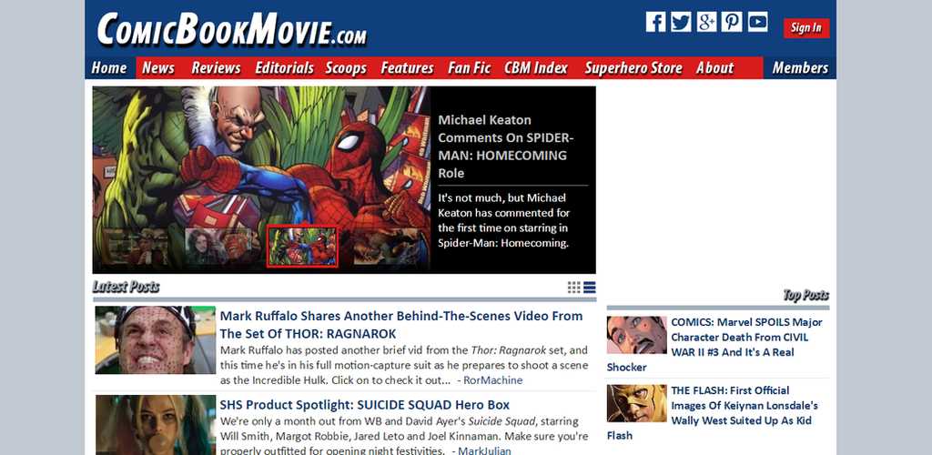 ComicBookMovie.Com FAN MADE Homepage Edit by SuperDude001