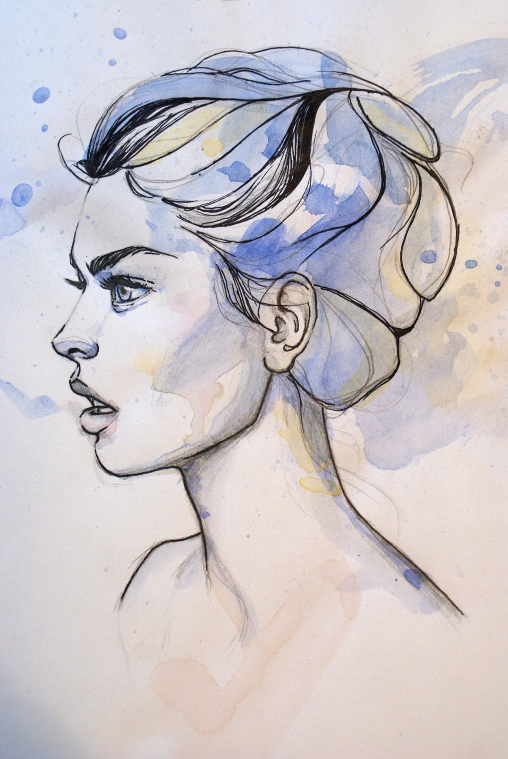 Quick watercolor and pen portrait by mward28 on DeviantArt
