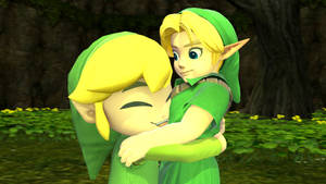 Young Link and Toon Link hugging
