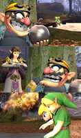 Wario attempts to torment two Links [Request]