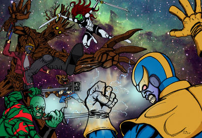 Marvel The Guardian of galaxy vs Thanos by Hafique84