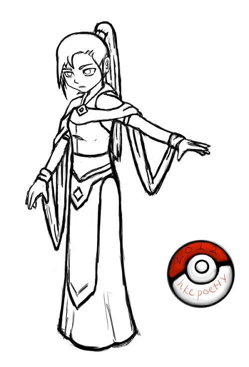 Pokemon trainer character rough lineart by hkepoetry