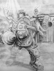 Big Daddy vs Splicers by sketcher298