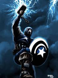 Captain America Wielding Mjolnir