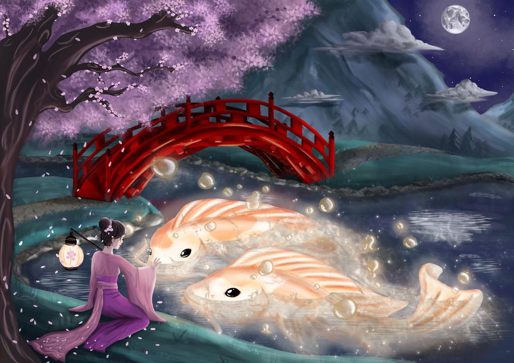 ~ Koi carp and Sakura spirit ~ by natsukani