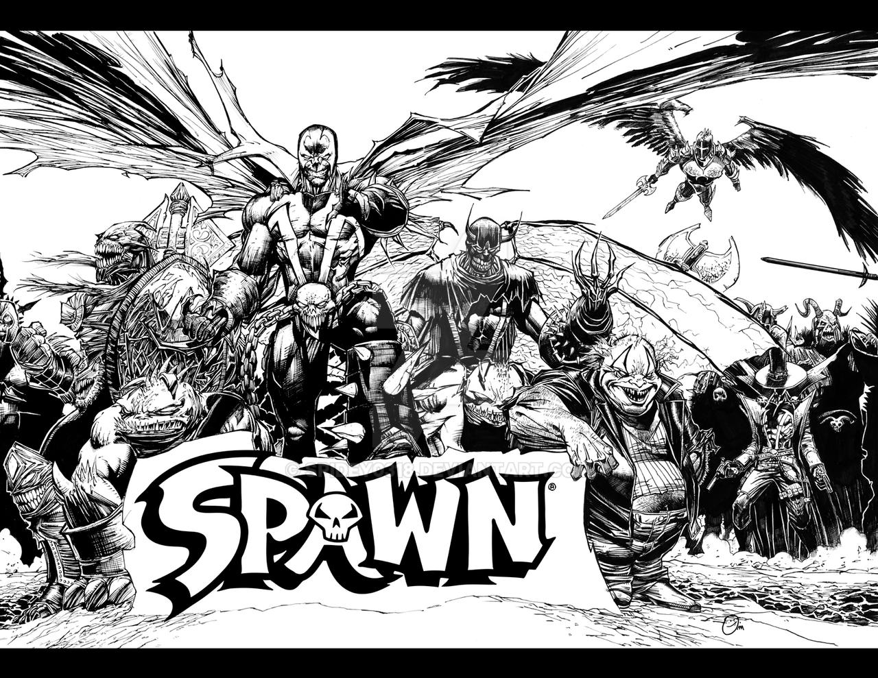 Uncategorized Spawn Coloring Pages spawn promo spread inks by spidey0318 on deviantart spidey0318