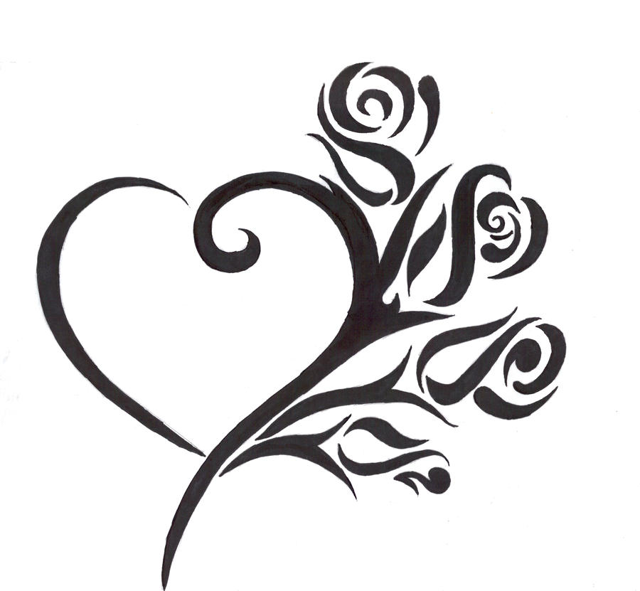 Heart And Rose Love Drawings Tattoo Image by...