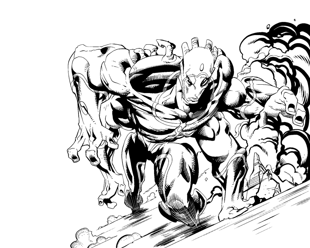Worlds in Peril Pinup Inks by jonathan-rector
