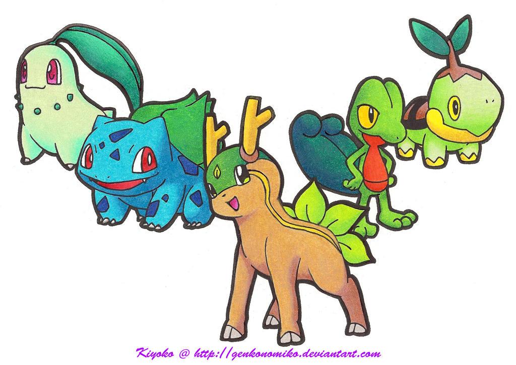 Pokemon Grass Starters by GenkoNoMiko