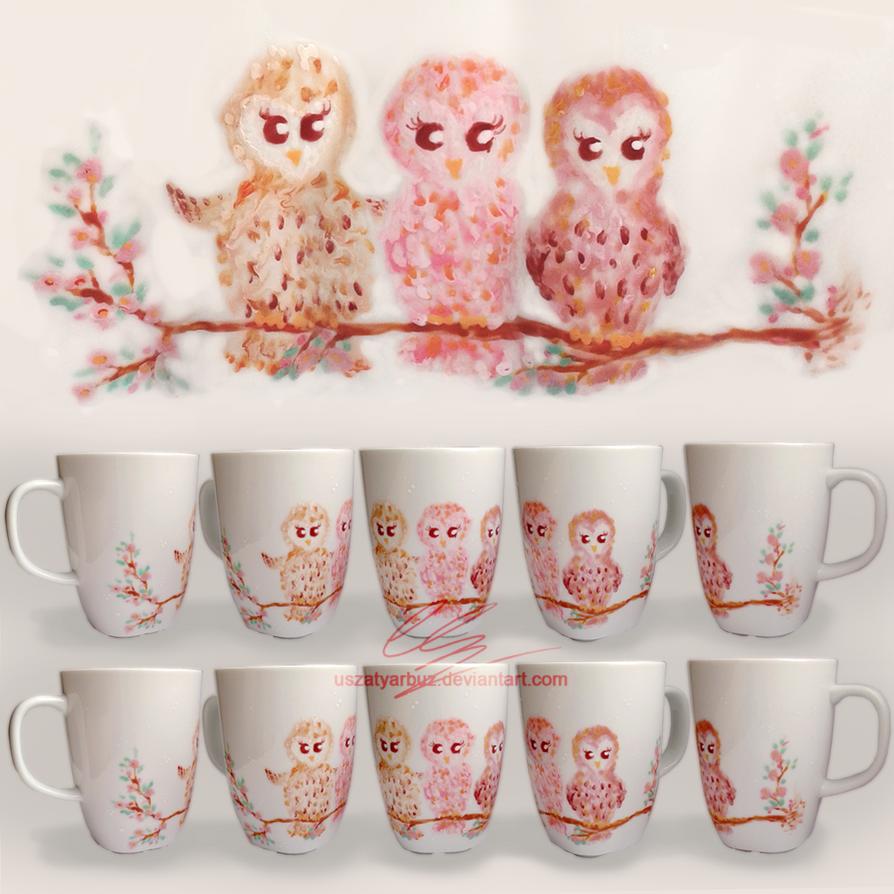 Three owls on a cherry tree by UszatyArbuz