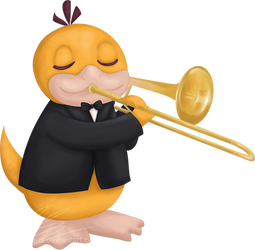 Psyduck playing trombone for Charity-Guild