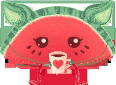 Kittenmelon loves coffee by UszatyArbuz