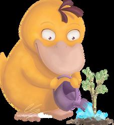 Psyduck planting a tree