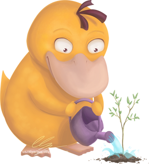 Psyduck planting a tree by UszatyArbuz