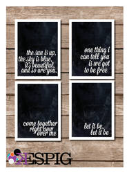Inspirational The Beatles Typography 4 Piece Print by dontbemad