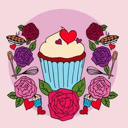 Cupcake and Roses