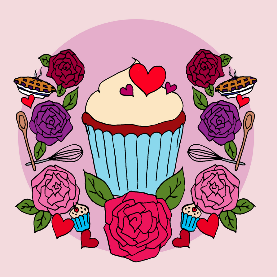 Cupcake and Roses by super-super-girl