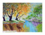 Oil Painting Original River Landscape