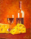 Oil Painting Original Still-Life Wine and Cheese