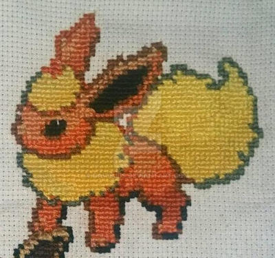 Flareon Cross-stitch by DavisJes