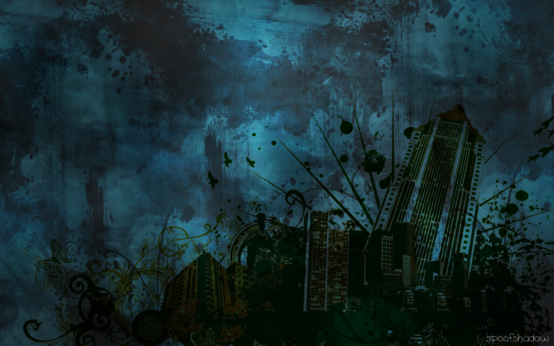 City In The Sky Blue Grunge By Spoofshadow