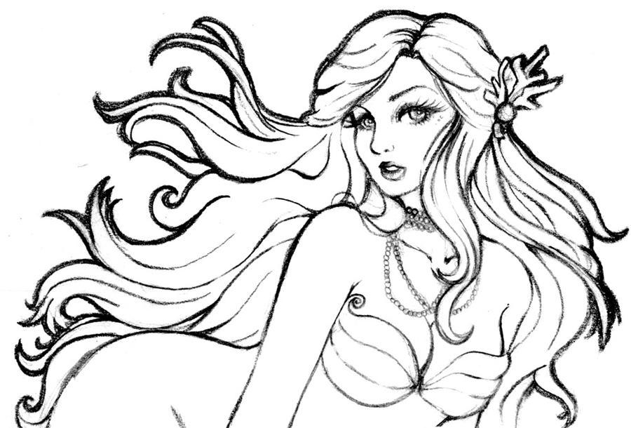 Nice Mermaid Lineart By Hitomi  I ...