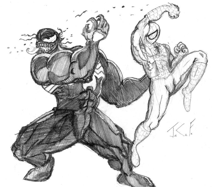Venom Spiderman Drawing Venom vs Spider...