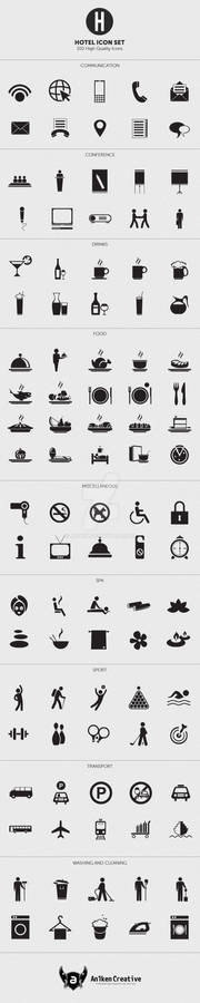 100 Minimal Hotel Icon Set with AI and EPS