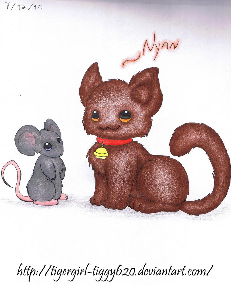 Cute Chibi Kitty Chibi Kitty And Mouse by