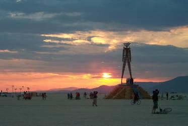 Burning Man 2000 Sunrise by newsnipple