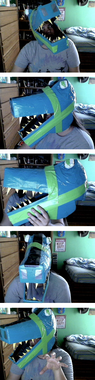 Duct Tape Dinosaur Mask by EveryDeadPetalFalls