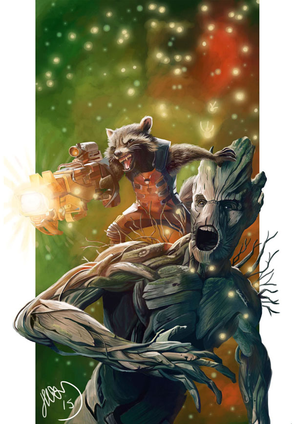 Guardians of the Galaxy - Rocket and Groot by Helonzyz