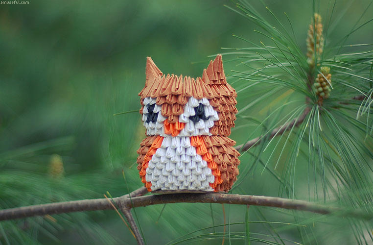 3D Origami Small Owl Tutorial - YouTube | 500x762