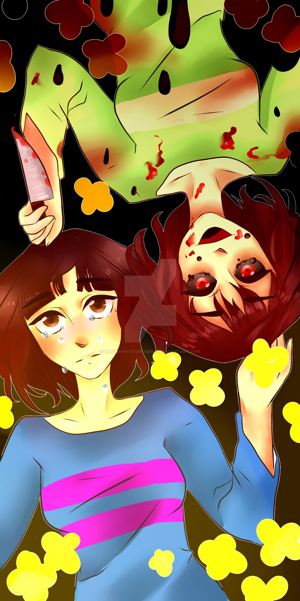Chara and Frisk Fan art by HannahVictoriaBibby