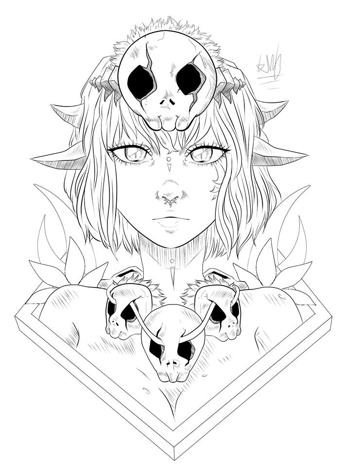 Outline of Primal Girl by HannahVictoriaBibby