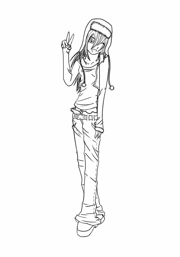 Line Art Person : Anime person sitting coloring pages